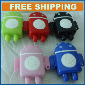 Free shipping 2015 100% New Google Android Robot TF card mini MP3 player+earphone+USB cable+crystal box