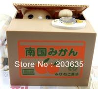 Free shipping 2013 Creative Funny Itazura Coin Bank,stolen/eat money cat saving box,piggy bank,