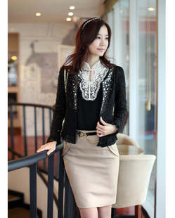 sale winter women jacket Spring and summer patchwork laciness rhinestones beading slim outerwear 1368 nc13(China (Mainland))