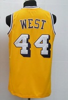 #44 Jerry West Men's Authentic Home Yellow Throwback Basketball Jersey