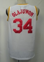 #34 Hakeem Olajuwon Men's Authentic Home White Throwback Basketball Jersey