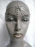 2013 FREE SHIPPING New arrival Unique Design Grecian Style Women Silver/Gold Head Metal Body Chain Jewelry Circlet Rhinestones