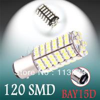 2pcs 1157 BAY15D P21/5W 120 SMD Pure White Tail Brake Turn Signal 120 LED Light Bulb Lamp