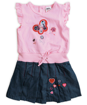 Free shipping high quality NWT 5pcs/lot children's denim spliced ruffles sleeve embroidery dress
