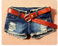 2013 spring hot selling dark color hole roll up hem roll-up hem basic flash denim shorts women's (Belt EXCLUDE!)