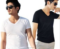 Hot Summer male ultra elastic lycra cotton short-sleeve T-shirt slim male V-neck basic shirt cotton t-shirt