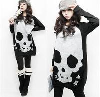 Autumn and winter women plus size long sleeve length loose sweater skull print t-shirt dress