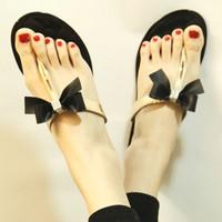 2013 wind jelly crystal fruit bow rhinestone flip flops sandals women's shoes