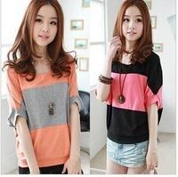 Women's 2014 Summer batwing sleeve design long stripe basic shirt plus size M L XL XXL loose short-sleeve T-shirt Tops Blouse