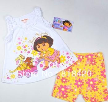 Wholesale 2013 New Designer Dora Clothing Girls 2 Pcs Sets Cartoon Dora Shirt+Sun Flower Pants Fashion Infant Wear Summer Outfit