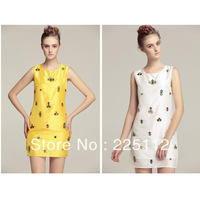 Wholesale 2013 new European and American women's fashion round neck irregular jewels slip dress 5840