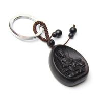 Bodhisattva ebony zodiac rabbit keychain animal buddha apotropaic