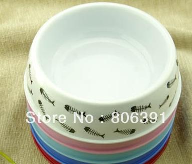Fishing bone Melamine small pet dog feeding bowl for cats, pet feeder bowl(China (Mainland))