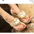 Free Shipping New Summer Vogue Rhinestone Cute Cat Kitty Head Wedges Womens Fashion Shoes High Heels Platform Casual Flip Flops