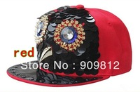 Free Shipping 2013 Punk Style, Cartoon owl flat brimmed hat, Small plastic discs sewn hip-hop rivets cap