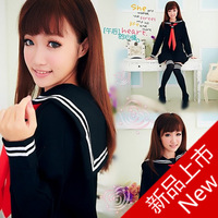 British style women's preppystyle student uniform school uniform set long-sleeve pleated skirt