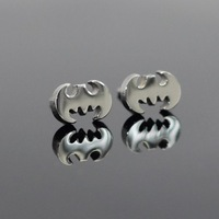 Fashion Stainless Steel Bat Style Stud Earrings,10pairs packing with card(E0025)
