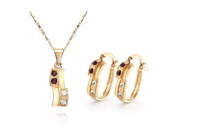 18KCC18 Free shipping wholesale 18K CC color Rhinestone Crystal Gold plated women jewelry set.Factory price