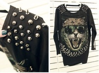 Tiger Printed T shirt Fashion Women Spike T-shirt Punk Style Stud patchwork Tees Black/white