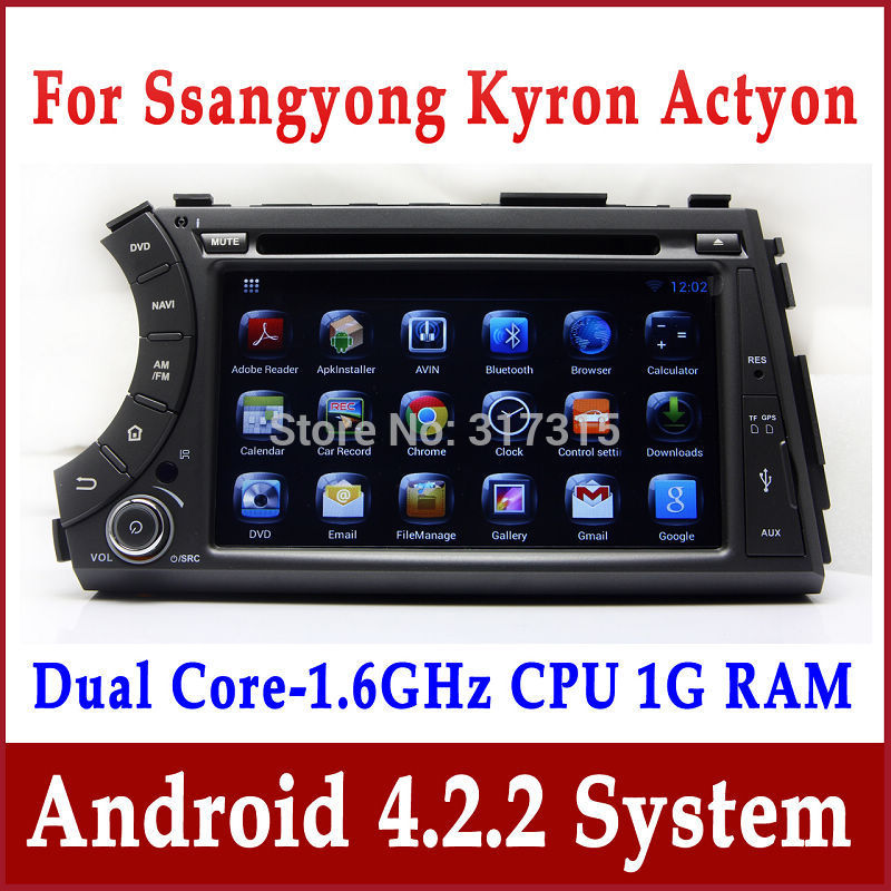 Android Auto Radio Car DVD Player for Ssangyong Kyron, Actyon, Tradie with GPS Navigation Bluetooth TV SWC USB Stereo 3G WIFI(China (Mainland))