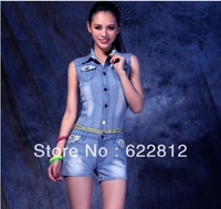 Free shipping 2013 New Denim Overalls Women Rompers cotton the jumper Jumpsuits & Rompers the sport suits  ED0519