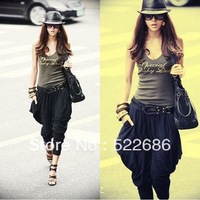 Free shipping Hot Selling 2013 Korea Style Women Fashion Harem Long Pant Black Stylish Loose Fit Baggy trousers Mix Order  K01