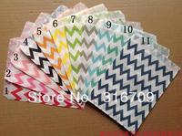 "500pcs 11colours 7"" x 5"" Chevron Paper Popcorn Bags Favor Bags Party Treats bags Free Shipping via DHL/EMS/FEDEX"