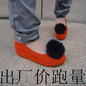 2013 spring leopard print shallow mouth foot wrapping velvet thickening flat plush ball women's shoes