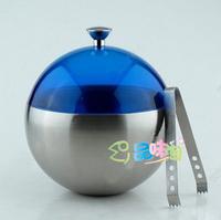 Stainless steel spherical ice-pail circle ice bucket double layer heat insulation bucket ice champagne bucket ice bucket