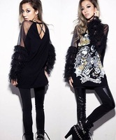Free shipping: Skull printed stitching net yarn tassels long sleeve coat loose backless T-shirt
