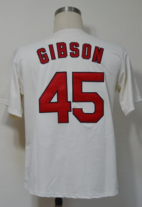 Free Shipping #45 Bob Gibson Men's Authentic 1967 Home Cream Throwback Baseball Jersey(China (Mainland))