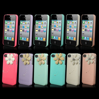 1 pc High Quality Pearl Daisy New Candy Hard Bling Back Case For iPhone 4 4G 4S AT&T