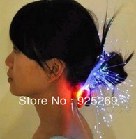 Big Promotion 20 Clip in Fiber Optic LED Hair Barrettes LED hair lights LED Flashing Hair Braids 20pcs free shipping women Loved
