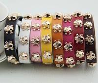 Fashion personality punk fashion multicolour calf skin personalized gold skull genuine leather bracelet 8