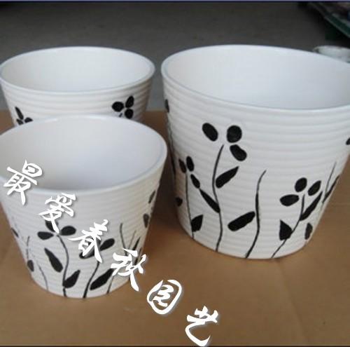 2013 the new special offer. Ceramic mini flower pot plants desktop fresh black-and-white(China (Mainland))