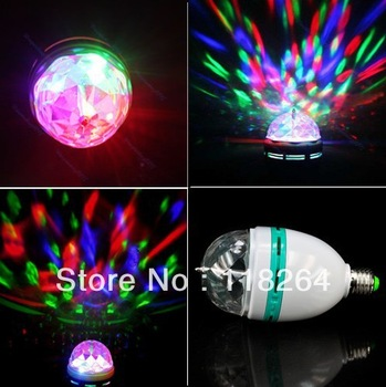 5pcs/lot+ New Classic E27 RGB Crystal Magic Ball Stage Lights Led Rotating Lamp For Party Disco DJ Bar LED Effects free shipping