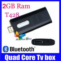 10Pcs/lot DHL/EMS Freeshipping! Quad Core USB Dongle Android 4.2 Bluetooth 4.0 IpTv Box Jelly Bean Player 2GB RAM,8GB Rom T428