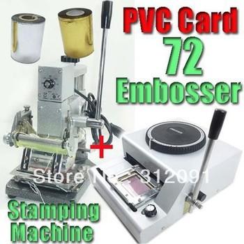 pvc tarjeta de impresora 72 cartas relieve& estampado en caliente máquina w/oro& plata papel de rodillo