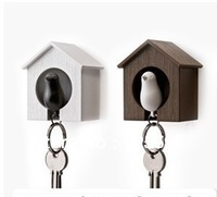 New&Hot selling plastic sparrow key ring,cute bird house key holder,plastic Whistle keychain,plastic animal keychain,bird nest