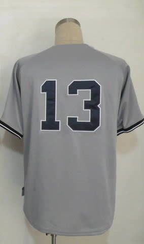 Free Shipping #13 Alex Rodriguez Men's Authentic Road Grey Cool Base Baseball Jersey(China (Mainland))