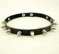 Free Shipping Fashion Punk Short Spike Cowhide Genuine Leather Necklace Collar Dual Bracelet NE-007