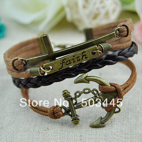 Free Shipping 100PCS/Lot Faith bracelet Bronze Anchor Faith Cross cuff bracelet Brown Black color anchor bracelet(China (Mainland))