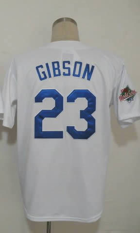 Free Shipping #23 Kirk Gibson Men's Authentic 1988 Home White Throwback Baseball Jersey(China (Mainland))