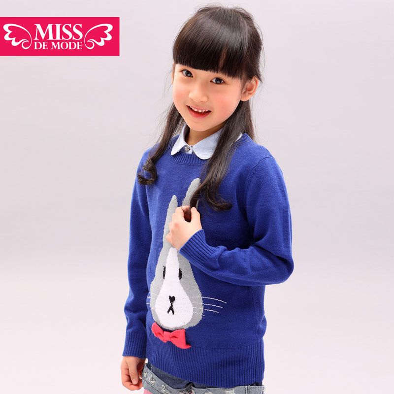 Miss modern children's clothing girls cute rabbit round neck long sweater children spring 2013 new(China (Mainland))