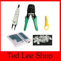 Network Cable Tester RJ45 RJ12 CAT5 CAT5e RJ45 Modular Plugs+ Telecom Phone Cable Punch+Crimp Tool,1set Free shipping.
