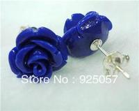 Beautiful Blue Sea Coral Carved Rose Earring 12X12MM EarringFashion jewelry