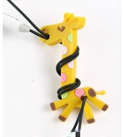 2013 new 30pcs/lot Free shipping  Giraffe MP3 iPod Earphone Cable Cord Winder Organizer