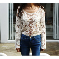 Women Semi Sexy Sheer Sleeve Embroidery Floral Lace Crochet Tee T-Shirt Top T shirt # L034757