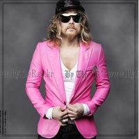 Male slim casual suit pink men's pink  blazer outerwear