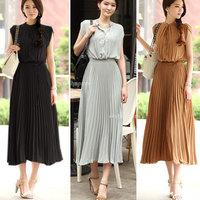 Vintage Womens Boho Bohemia Chiffon Sleeveless Ruched Pleated Maxi Long Dress